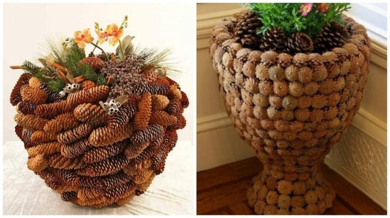 How to Make Pine Cone Covered Planters
